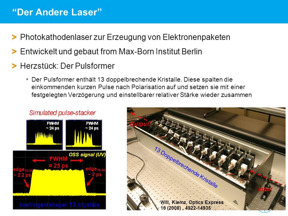 Der Andere Laser Photokathodenlaser zur Erzeugung von Elektronenpaketen. Entwickelt und gebaut from Max-Born Institut Berlin.