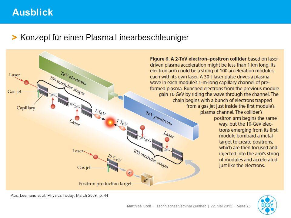 Ausblick Konzept für einen Plasma Linearbeschleuniger