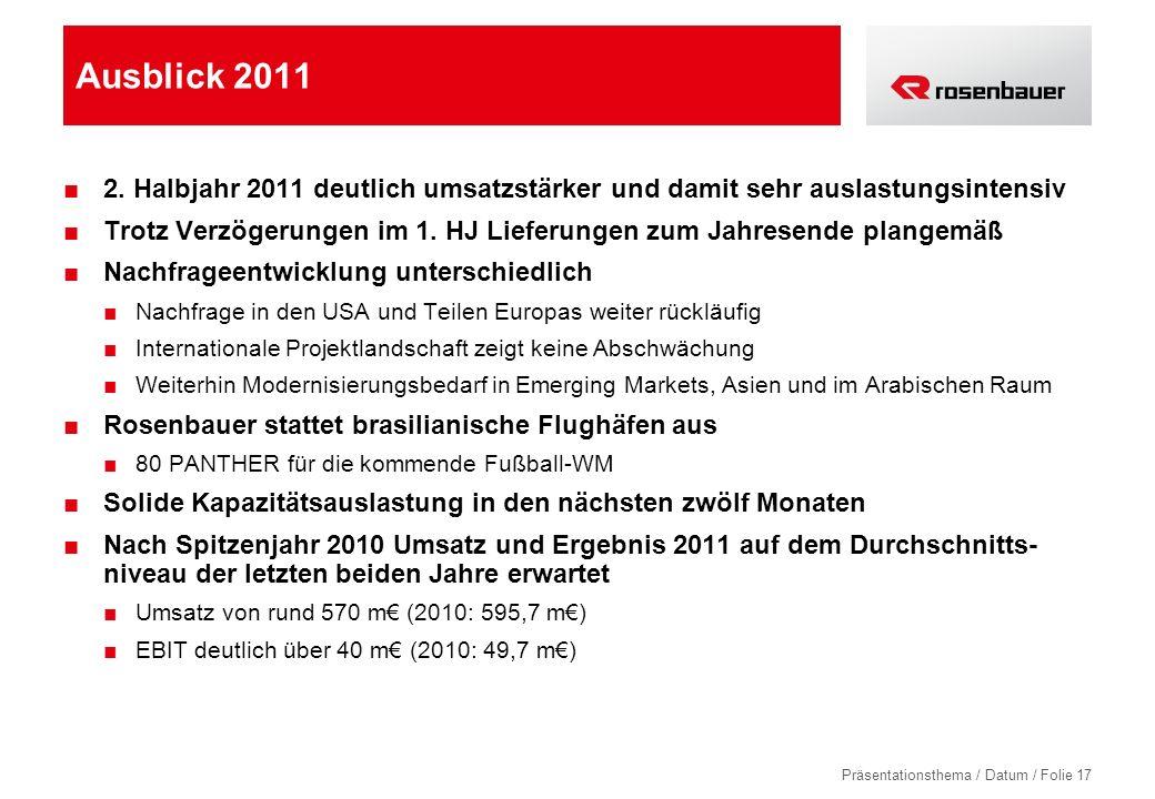 Ausblick 2011 2. Halbjahr 2011 deutlich umsatzstärker und damit sehr auslastungsintensiv.