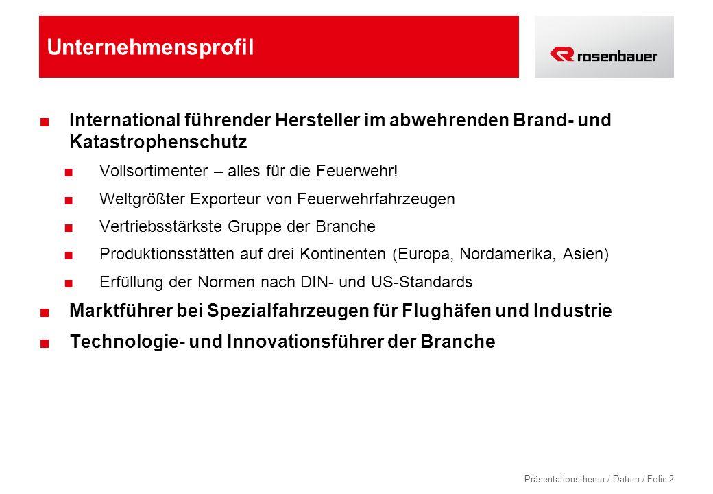 Unternehmensprofil International führender Hersteller im abwehrenden Brand- und Katastrophenschutz.