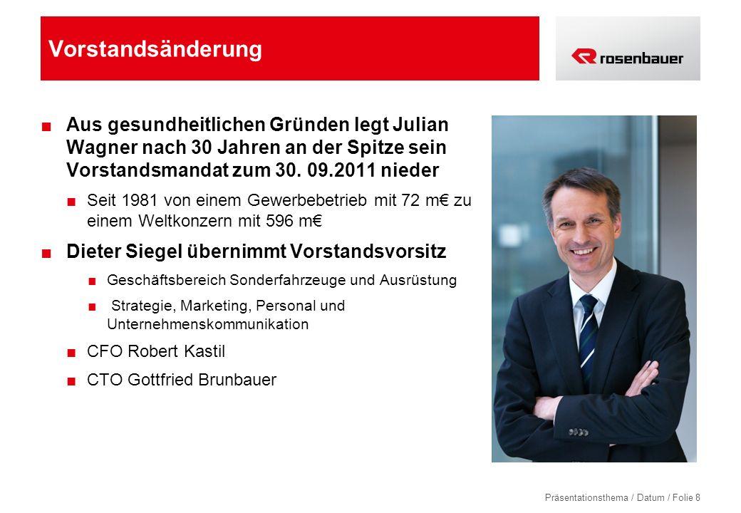 Vorstandsänderung Aus gesundheitlichen Gründen legt Julian Wagner nach 30 Jahren an der Spitze sein Vorstandsmandat zum 30. 09.2011 nieder.