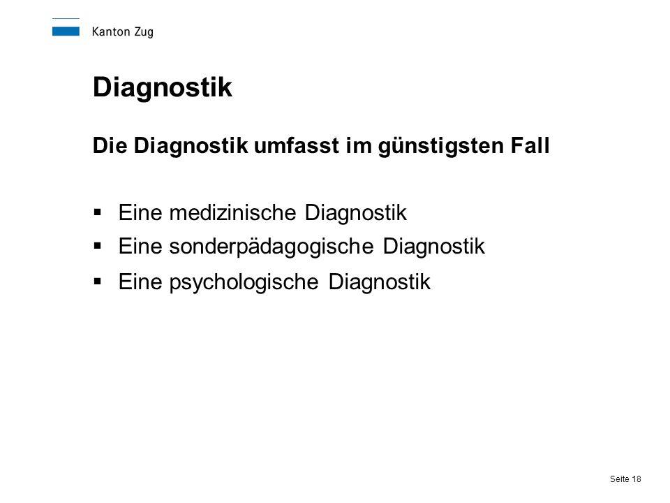 Diagnostik Die Diagnostik umfasst im günstigsten Fall