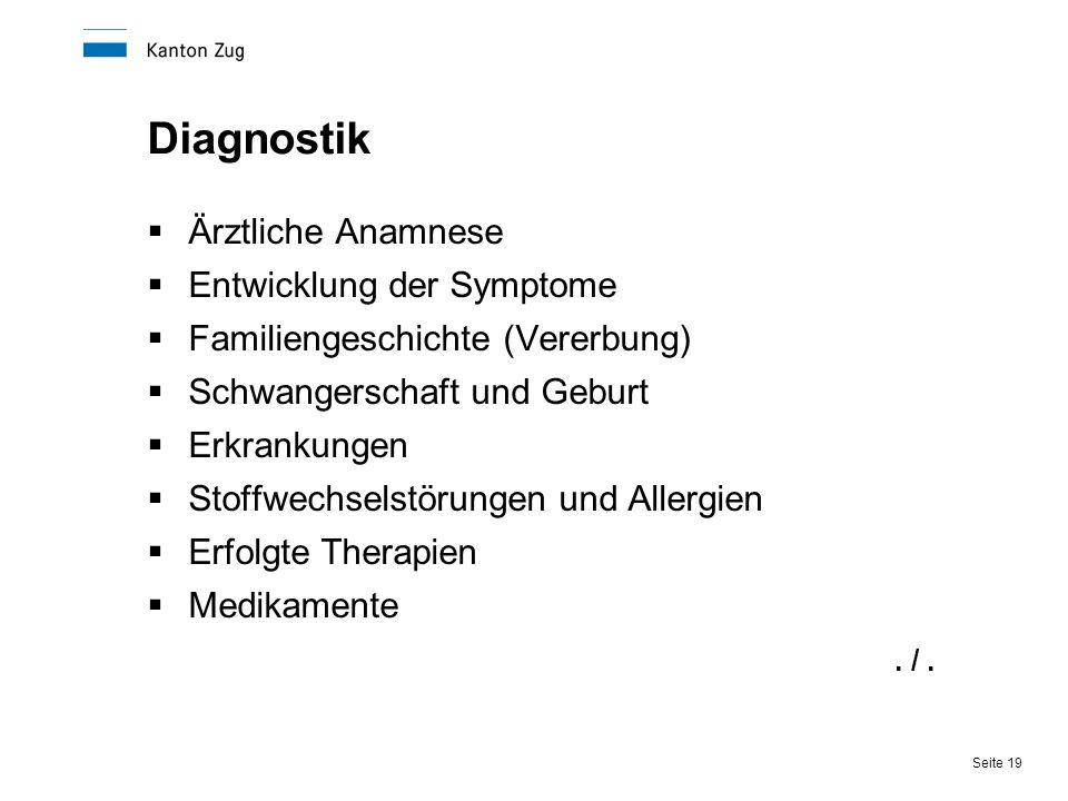 Diagnostik Ärztliche Anamnese Entwicklung der Symptome