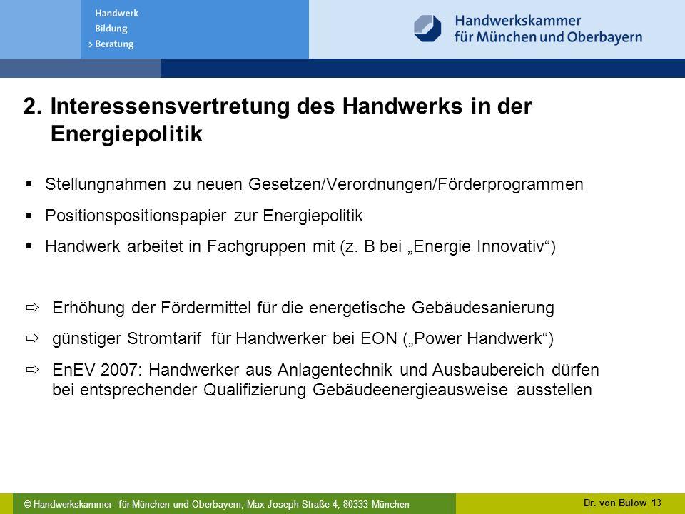 2. Interessensvertretung des Handwerks in der Energiepolitik