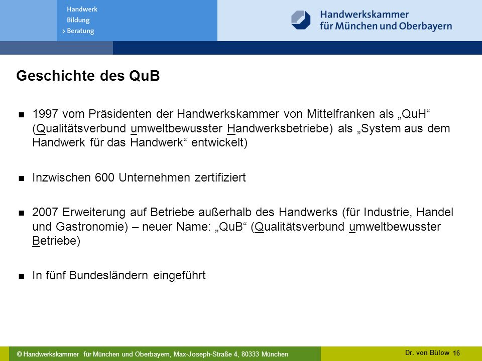 Geschichte des QuB
