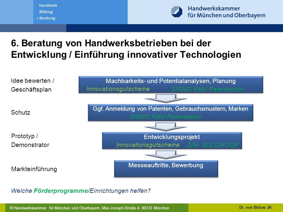 6. Beratung von Handwerksbetrieben bei der Entwicklung / Einführung innovativer Technologien