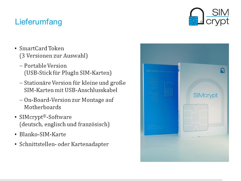 Lieferumfang SmartCard Token (3 Versionen zur Auswahl)