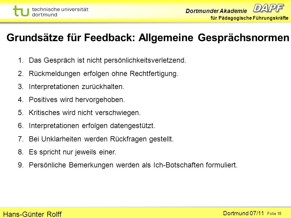 Grundsätze für Feedback: Allgemeine Gesprächsnormen
