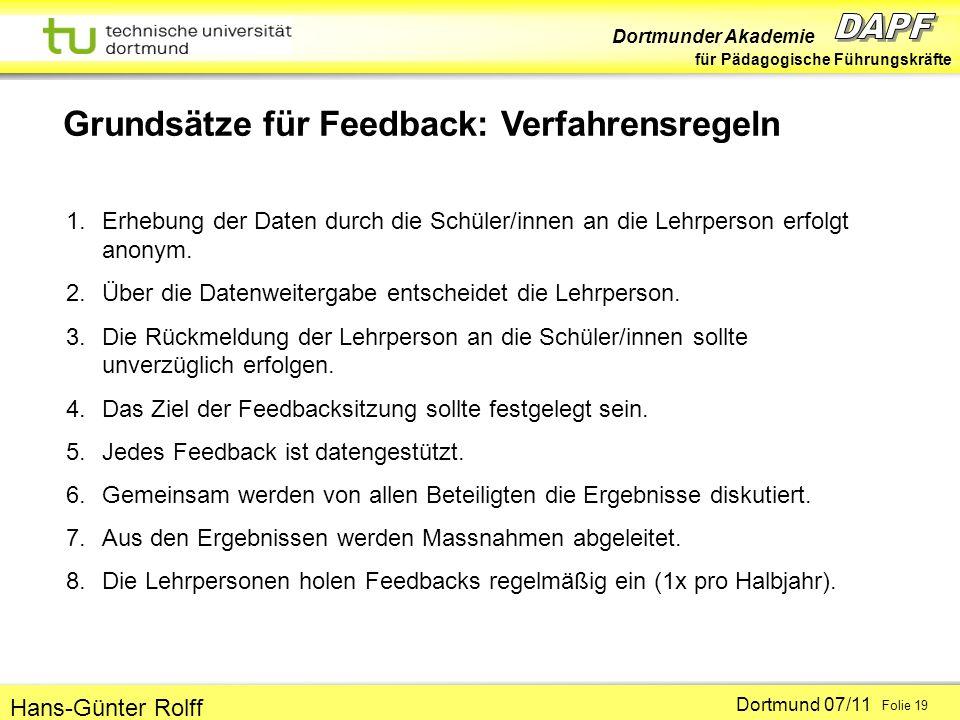 Grundsätze für Feedback: Verfahrensregeln