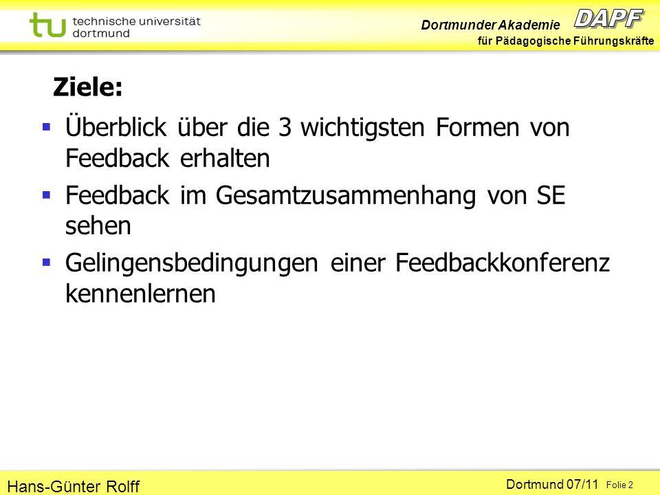 Ziele: Überblick über die 3 wichtigsten Formen von Feedback erhalten. Feedback im Gesamtzusammenhang von SE sehen.