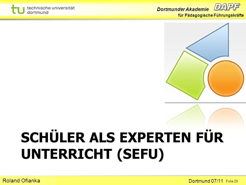 SCHÜLER ALS EXPERTEN FÜR UNTERRICHT (SEFU)