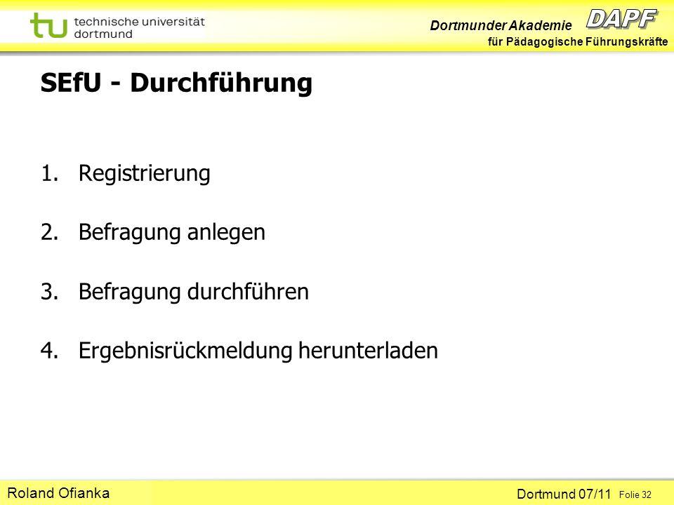 SEfU - Durchführung Registrierung Befragung anlegen