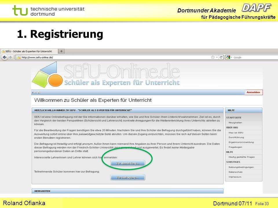 1. Registrierung Roland Ofianka