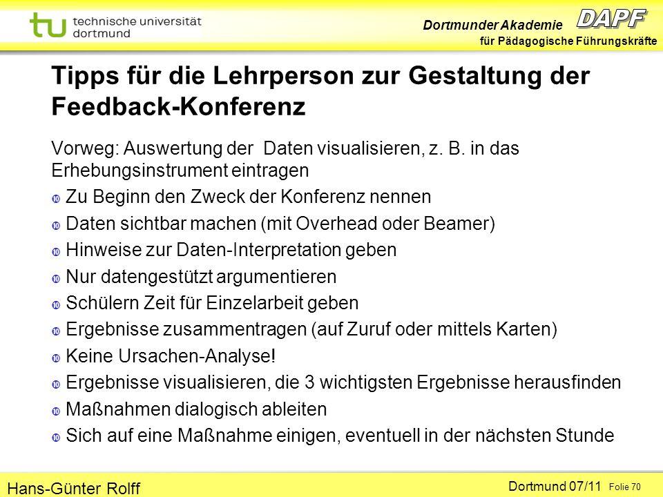 Tipps für die Lehrperson zur Gestaltung der Feedback-Konferenz