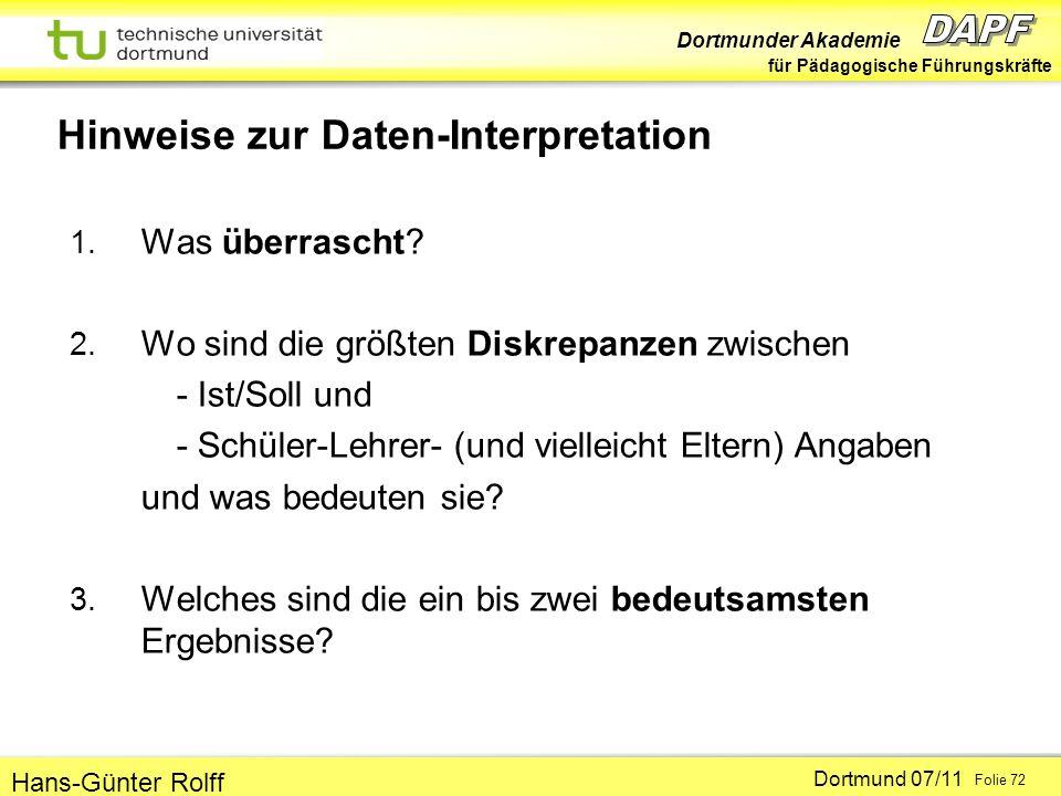 Hinweise zur Daten-Interpretation