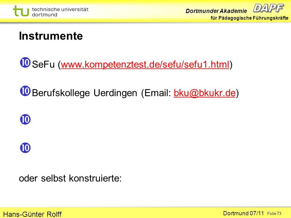 Instrumente SeFu (www.kompetenztest.de/sefu/sefu1.html)