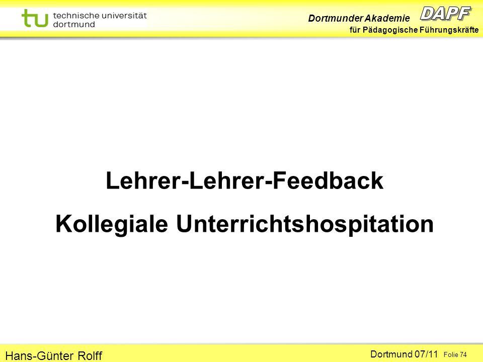 Lehrer-Lehrer-Feedback Kollegiale Unterrichtshospitation