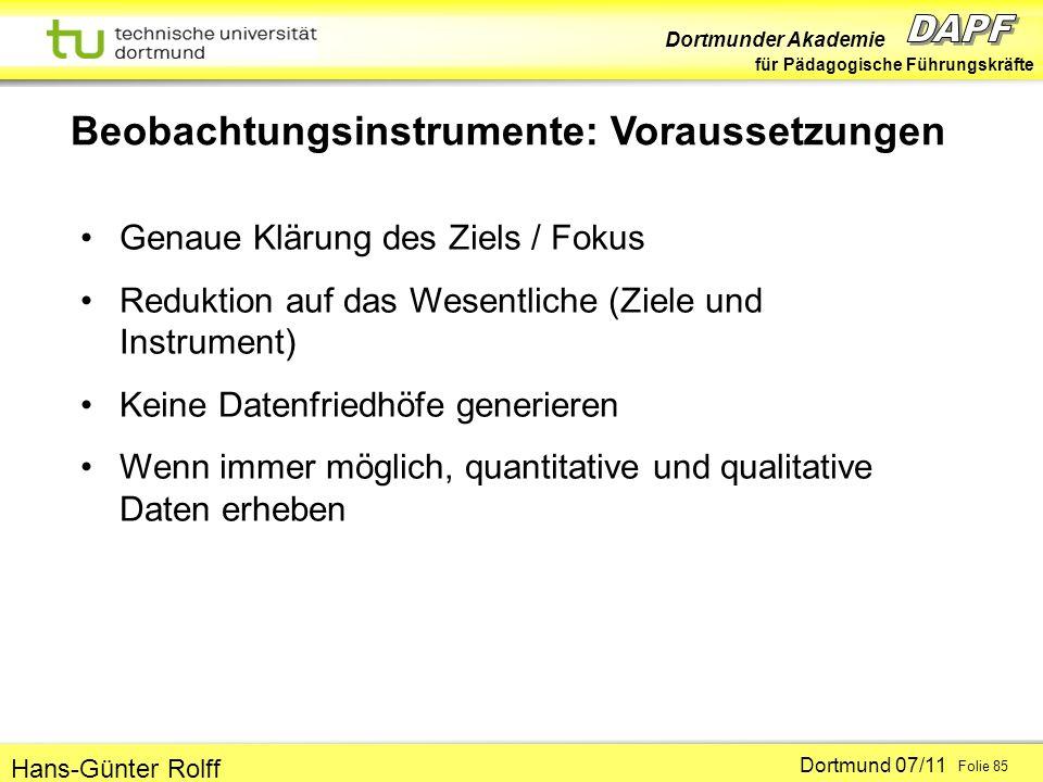 Beobachtungsinstrumente: Voraussetzungen