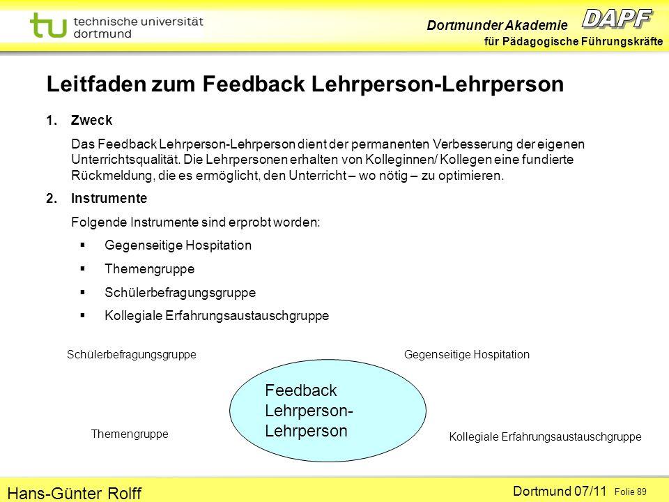 Leitfaden zum Feedback Lehrperson-Lehrperson
