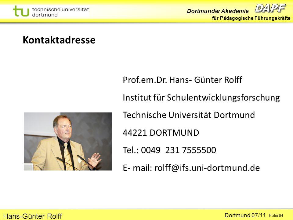 Kontaktadresse Prof.em.Dr. Hans- Günter Rolff