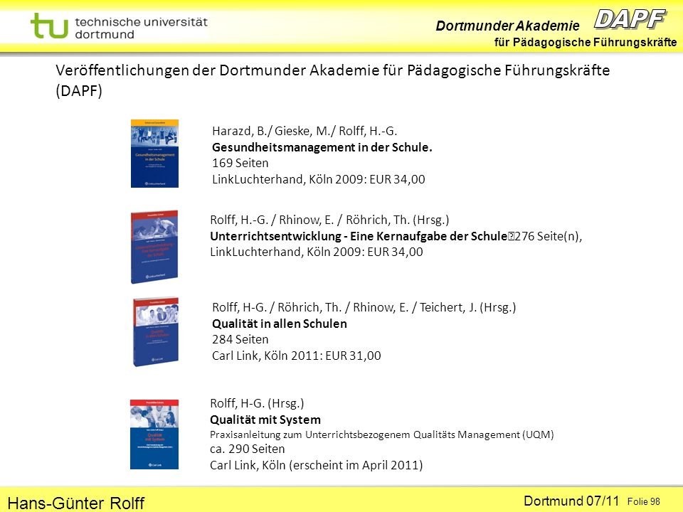 Veröffentlichungen der Dortmunder Akademie für Pädagogische Führungskräfte (DAPF)