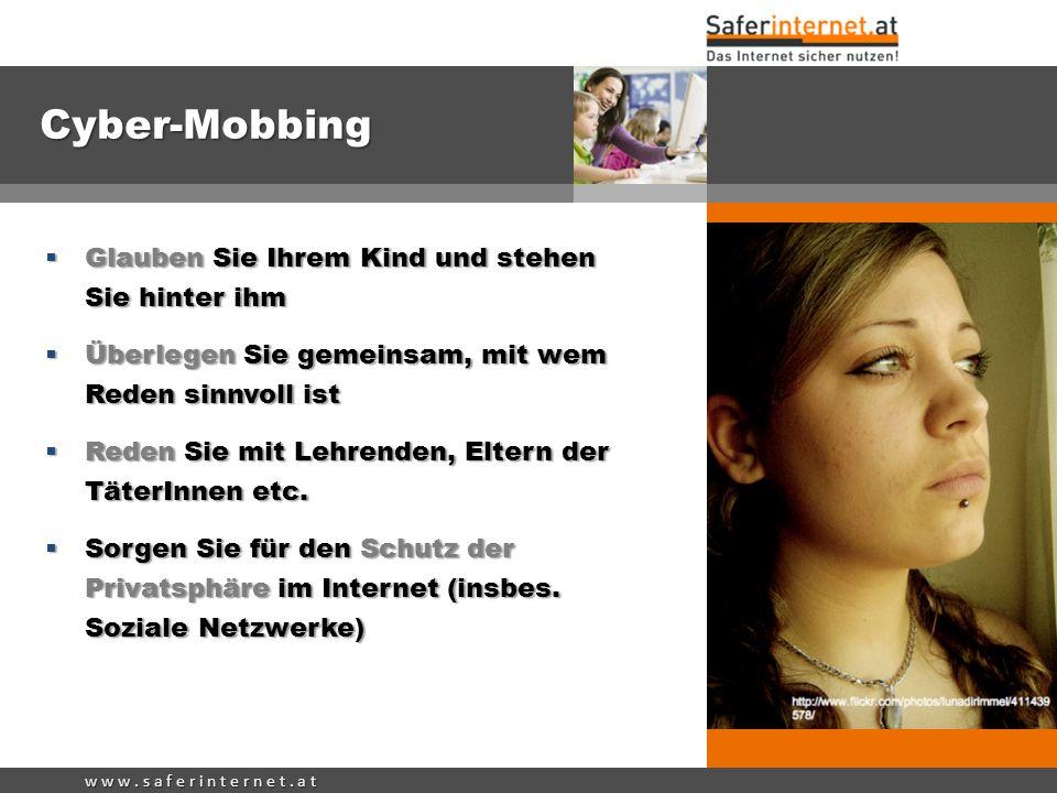 Cyber-Mobbing Glauben Sie Ihrem Kind und stehen Sie hinter ihm