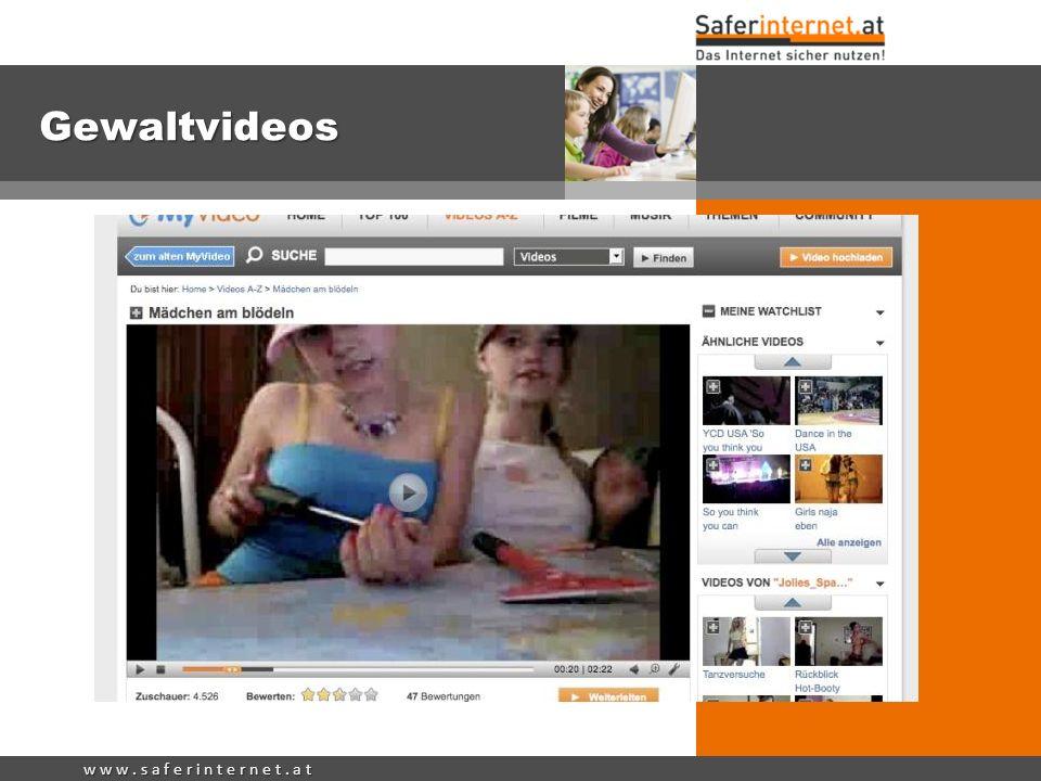 Gewaltvideos Viele Gewaltvideos werden von Jugendlichen auf Videoportalen online gestellt, wie MyVideo, YouTube etc.