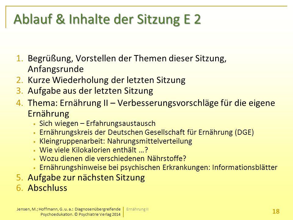 Ablauf & Inhalte der Sitzung E 2