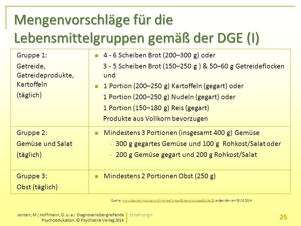 Mengenvorschläge für die Lebensmittelgruppen gemäß der DGE (I)