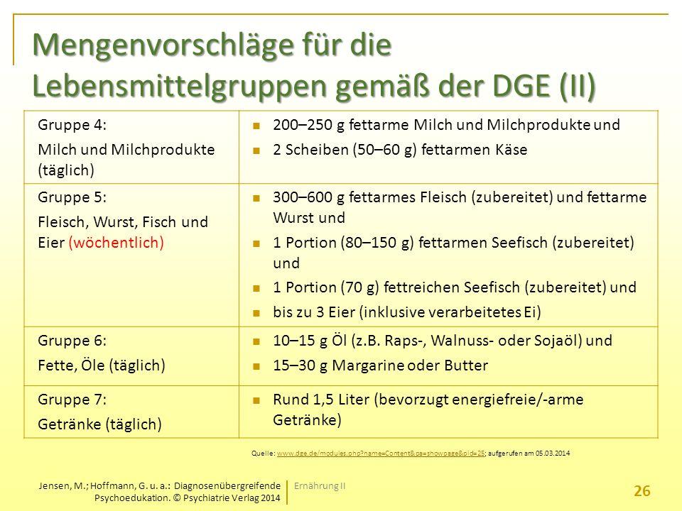 Mengenvorschläge für die Lebensmittelgruppen gemäß der DGE (II)