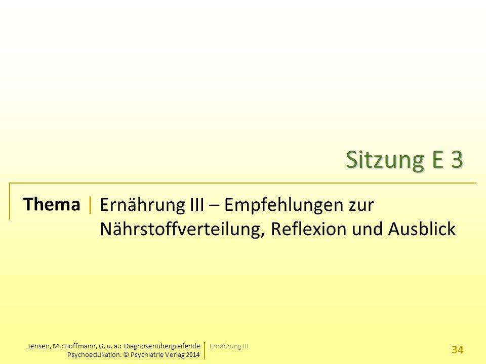Sitzung E 3 Ernährung III – Empfehlungen zur Nährstoffverteilung, Reflexion und Ausblick.