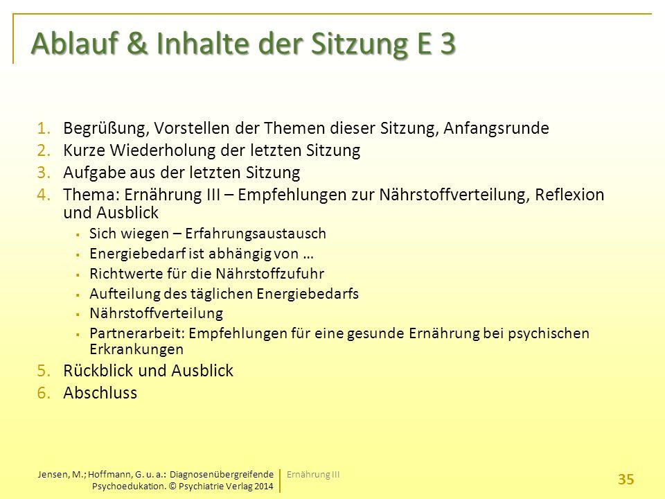Ablauf & Inhalte der Sitzung E 3