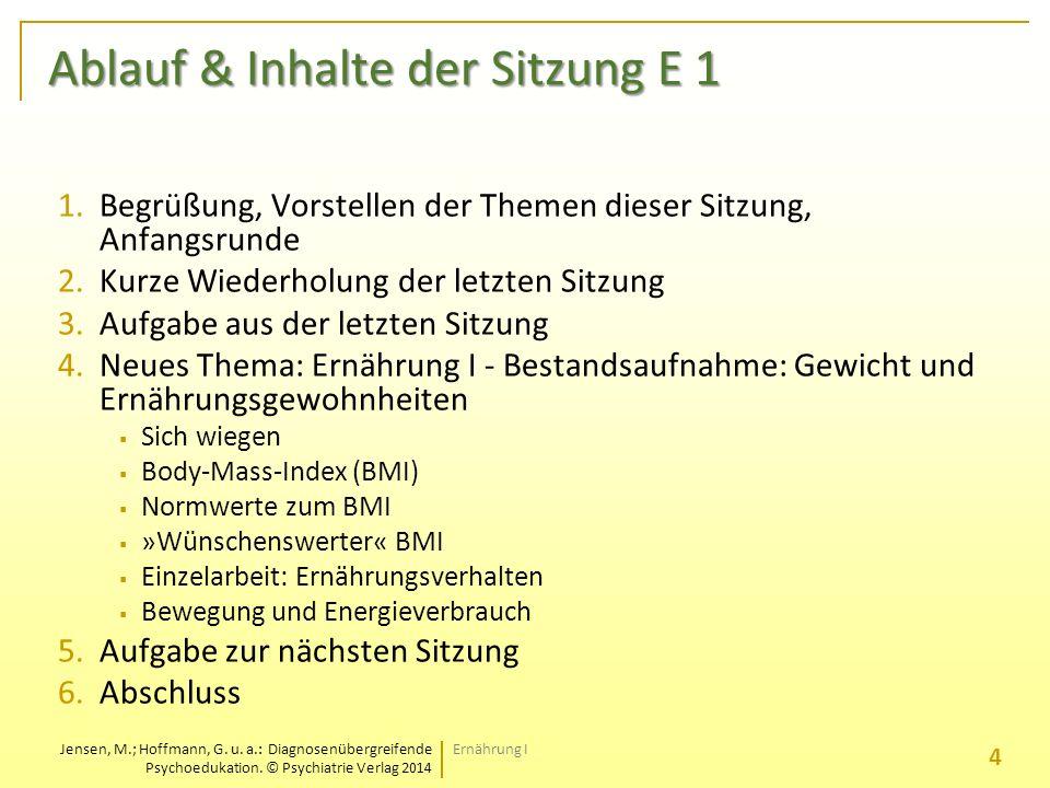 Ablauf & Inhalte der Sitzung E 1