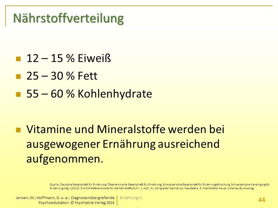 Nährstoffverteilung 12 – 15 % Eiweiß 25 – 30 % Fett