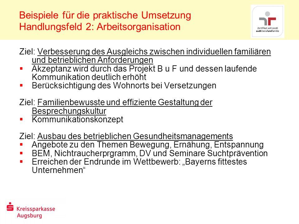 Beispiele für die praktische Umsetzung Handlungsfeld 2: Arbeitsorganisation