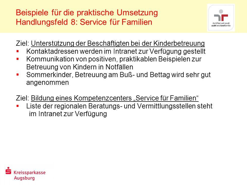 Beispiele für die praktische Umsetzung Handlungsfeld 8: Service für Familien