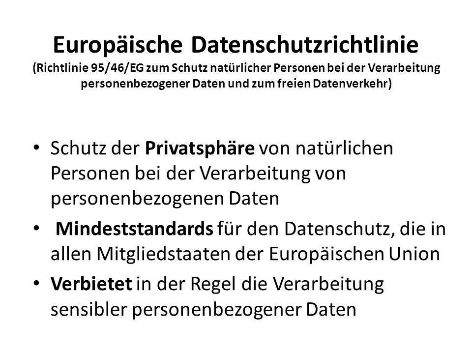 Europäische Datenschutzrichtlinie (Richtlinie 95/46/EG zum Schutz natürlicher Personen bei der Verarbeitung personenbezogener Daten und zum freien Datenverkehr)