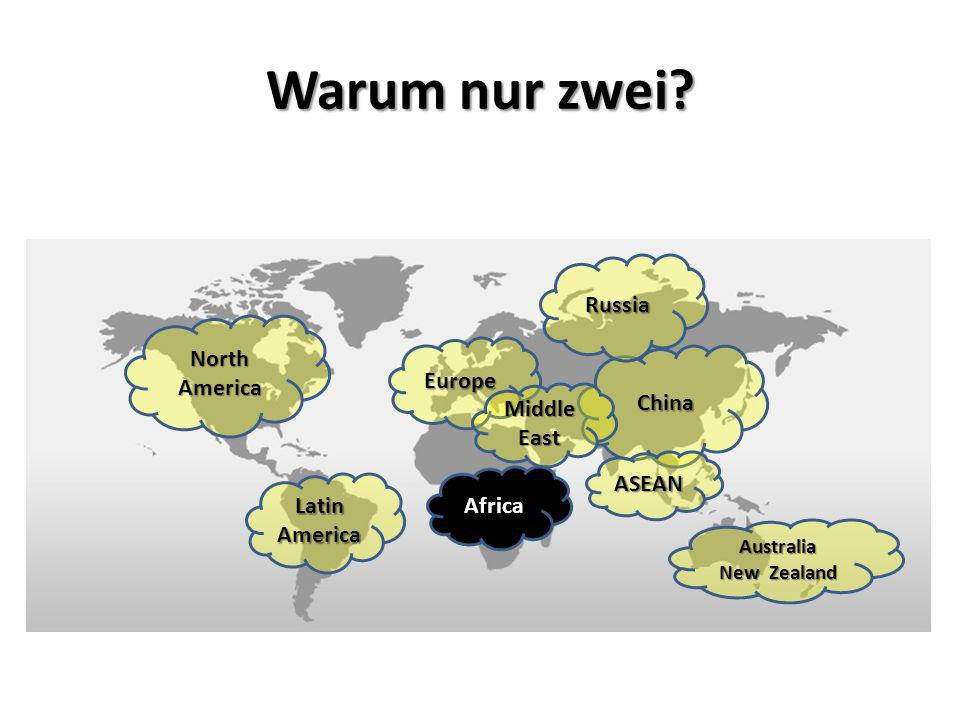 Warum nur zwei Russia North America Europe China Middle East ASEAN