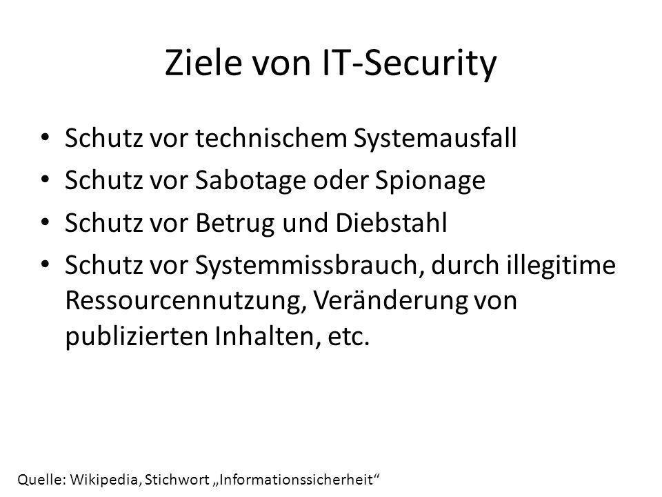 Ziele von IT-Security Schutz vor technischem Systemausfall