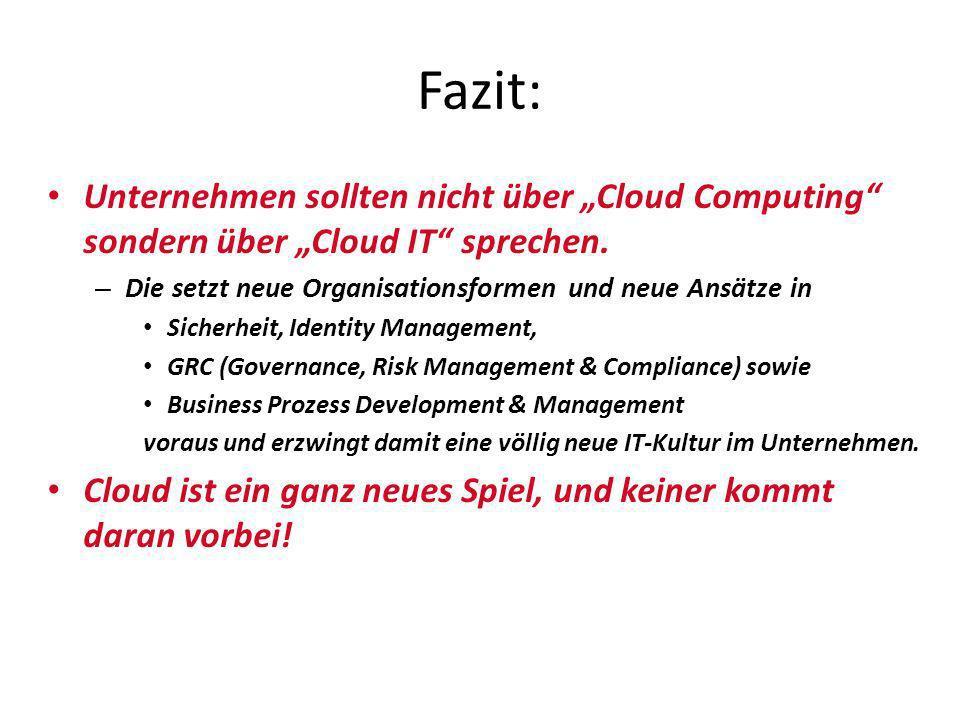 """Fazit:Unternehmen sollten nicht über """"Cloud Computing sondern über """"Cloud IT sprechen. Die setzt neue Organisationsformen und neue Ansätze in."""