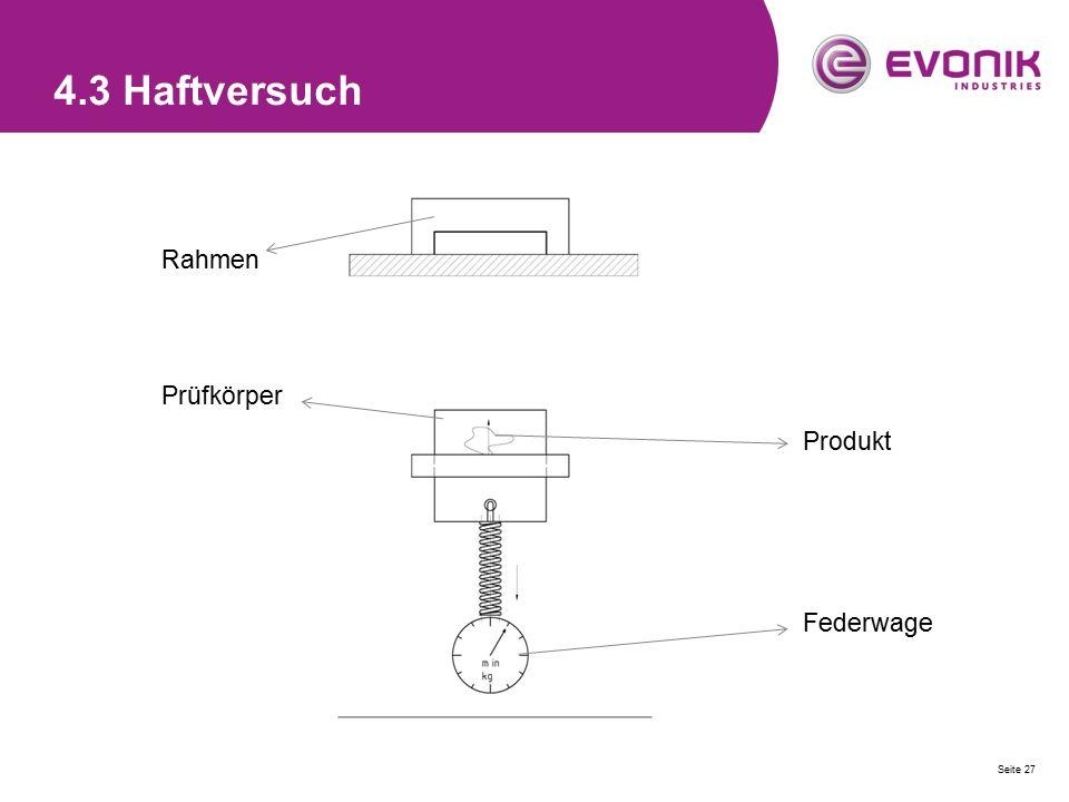 4.3 Haftversuch Rahmen Prüfkörper Produkt Federwage