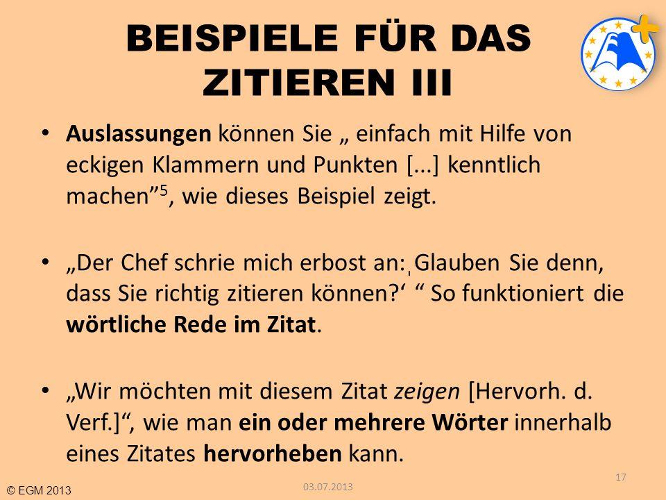 BEISPIELE FÜR DAS ZITIEREN III