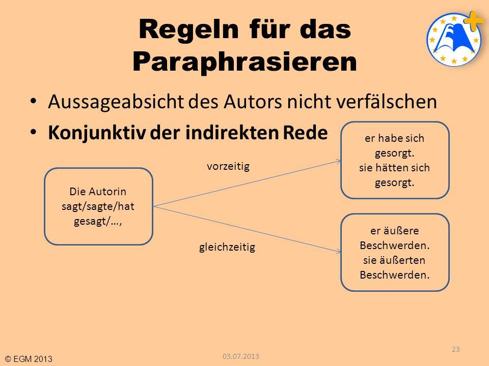 Regeln für das Paraphrasieren