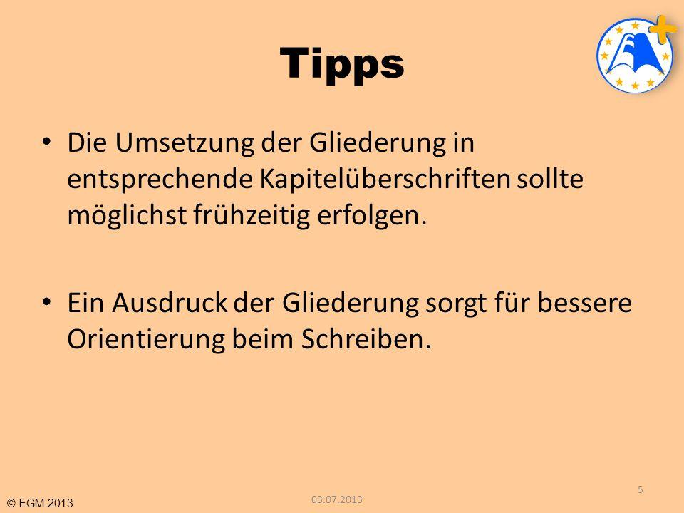 TippsDie Umsetzung der Gliederung in entsprechende Kapitelüberschriften sollte möglichst frühzeitig erfolgen.