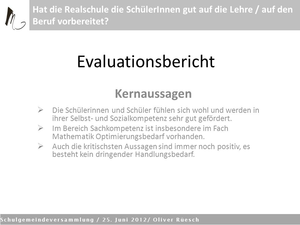 Evaluationsbericht Kernaussagen