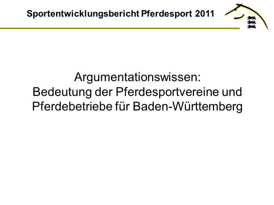 Argumentationswissen: Bedeutung der Pferdesportvereine und Pferdebetriebe für Baden-Württemberg
