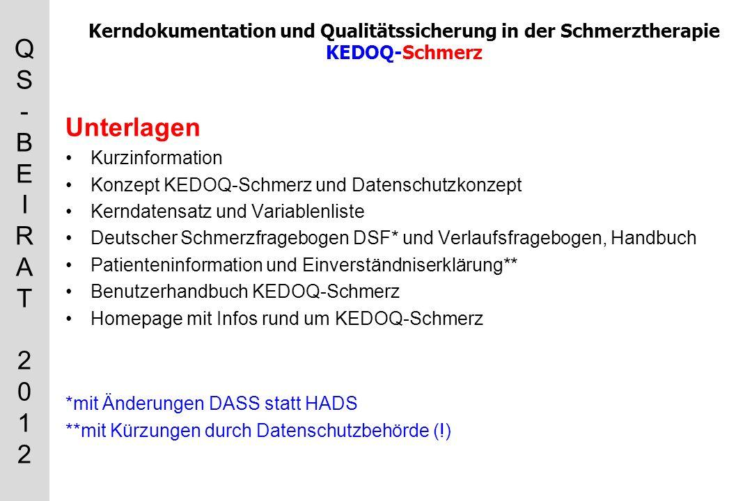 Kerndokumentation und Qualitätssicherung in der Schmerztherapie KEDOQ-Schmerz