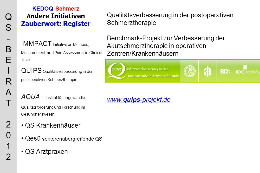KEDOQ-Schmerz Andere Initiativen Zauberwort: Register