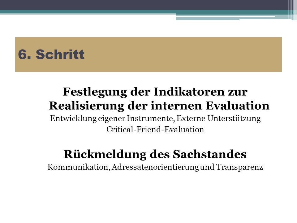 6. Schritt Festlegung der Indikatoren zur Realisierung der internen Evaluation. Entwicklung eigener Instrumente, Externe Unterstützung.