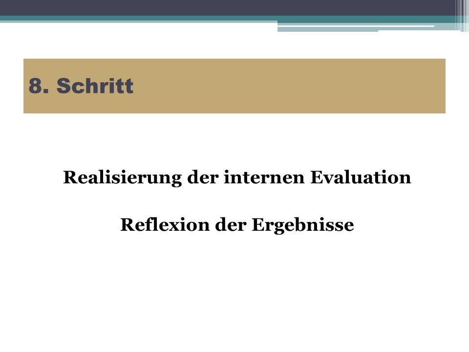 Realisierung der internen Evaluation Reflexion der Ergebnisse